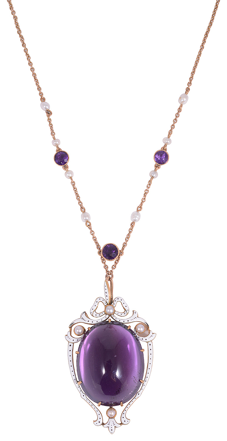 A beautiful mid Victorian amethyst, seed pearl and enamel shield pendant