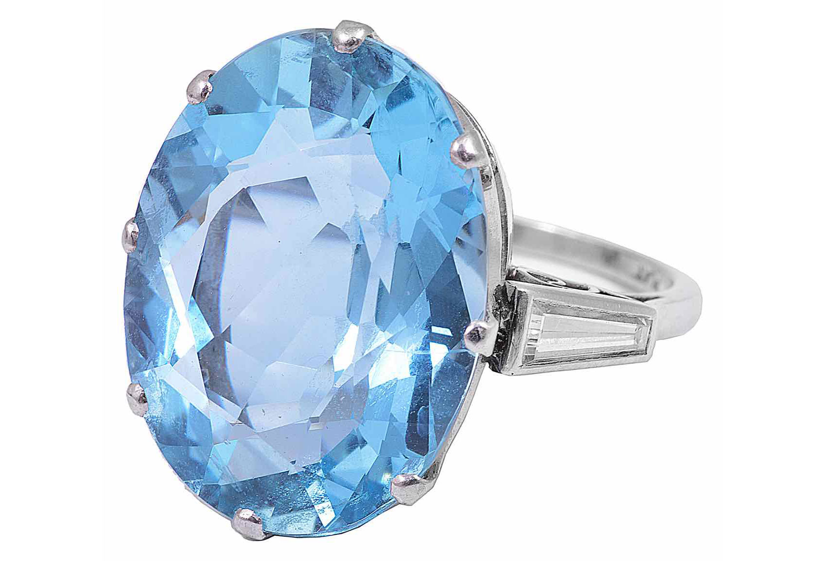 A large attractive aquamarine and diamond set cocktail ring, circa 1940