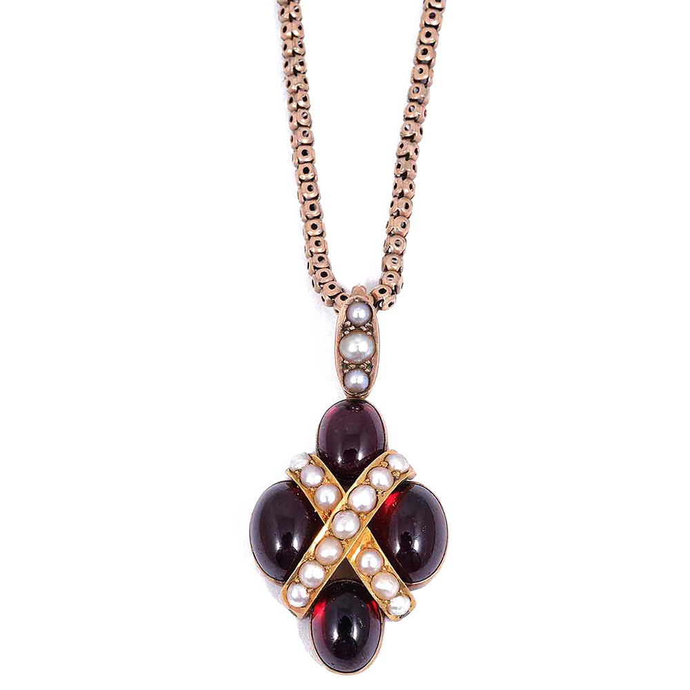 An attractive Victorian garnet and pearl pendant
