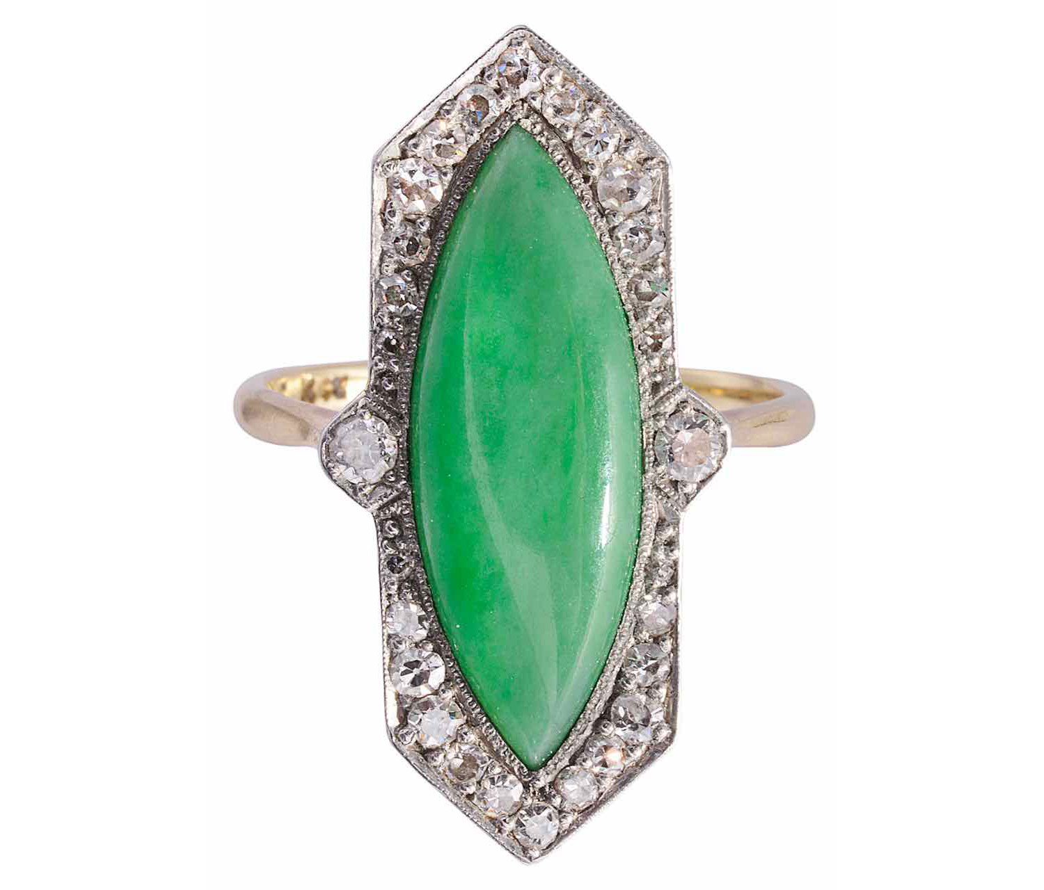 An attractive Art Deco jade and diamond set ring