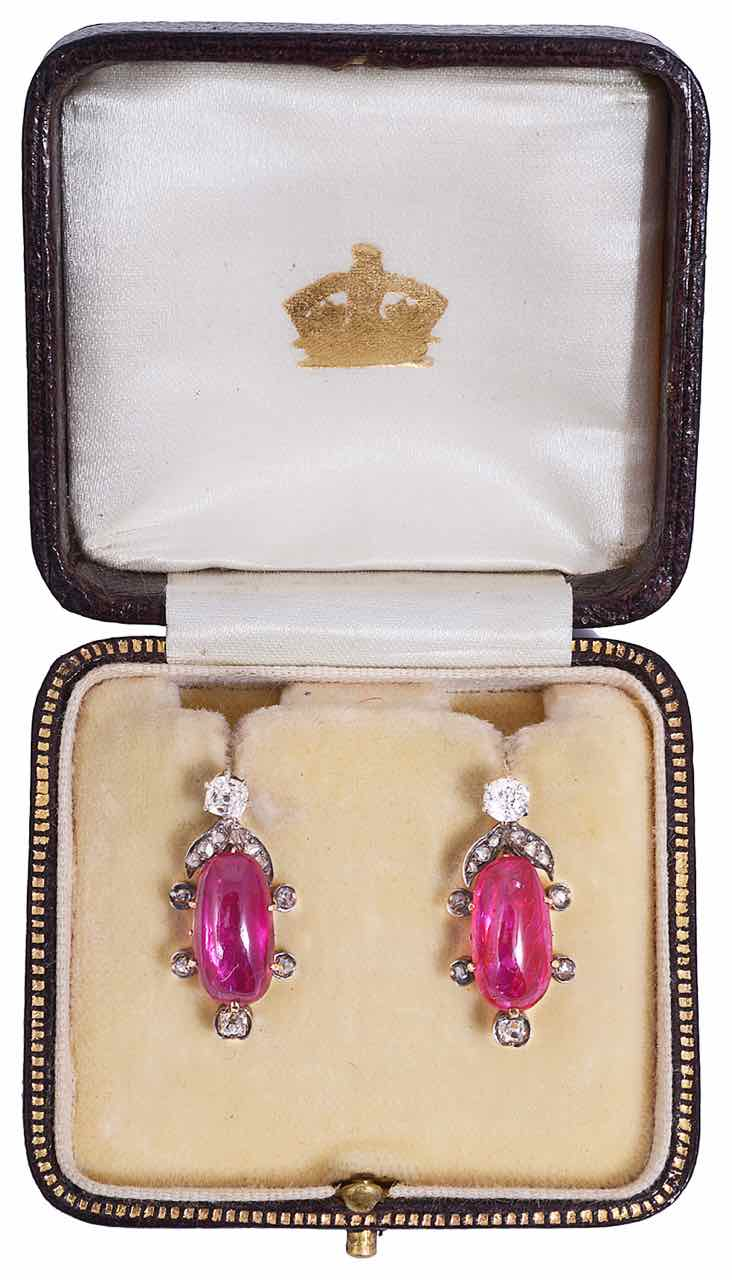 An attractive pair of 19th Century natural Burmese ruby and diamond earrings